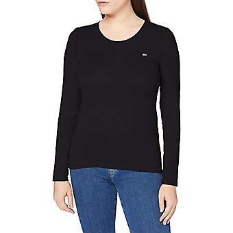 Tommy Jeans TJW Stretch Jersey Scoop Neck T-Shirt, Black, L Woman