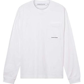 Calvin Klein Jeans Micro Essential Pocket L/S Tee T-Shirt, Bright White, S Men's