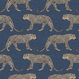 Leopard Wallpaper Navy Blue World of Wallpaper 274690