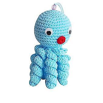 Sininen pää luova villa nukkecrocheted mustekala x4707