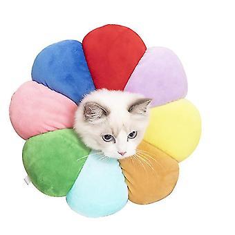 Xl ουράνιο τόξο γάτα και σκύλος λουλούδι λουλούδι ιατρικό κολάρο αντι-δάγκωμα και αντι-γλείφοντας κατοικίδιο ζώο προμήθειες az22809