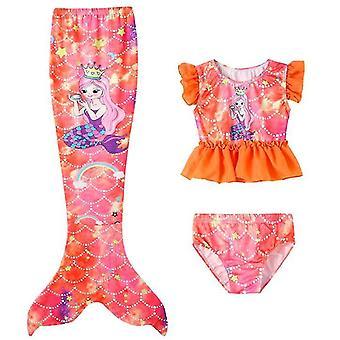 110 cm narancssárga 3db lány fürdőruha sellő úszás sellő x7380