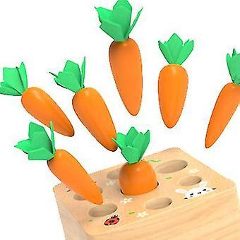 12.5 * 12.5 * 5.5Cm tirando de zanahoria rompecabezas de madera de los niños que insertan juego de zanahoria 1-5 años de edad, niños y niñas juguetes az11487