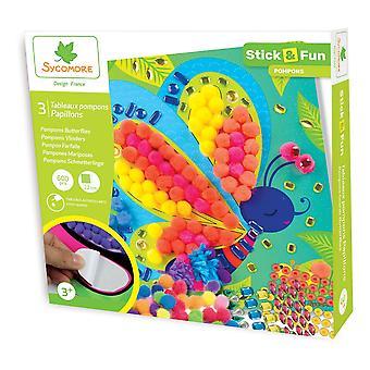 Sycomore Stick & Fun Children's Pompoms Boards Butterfly