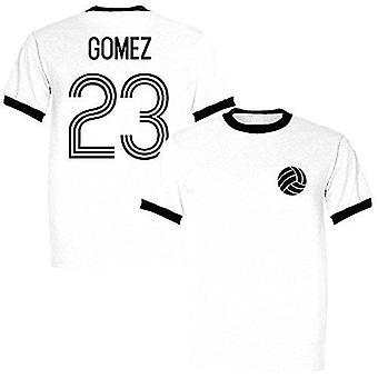 Imperio deportivo mario gomez 23 alemania leyenda ringer retro camiseta blanca/negra - grande