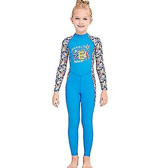Children Girls Summer Sunscreen One-piece Wetsuit, Long-sleeved Quick-drying Jellyfish Swimsuit