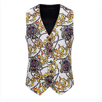 Mens White Crown Printed Single Breasted Vest Gothic Steampunk Victorian Brocade Waistcoat(L)