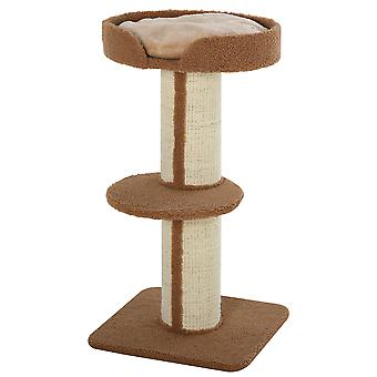 PawHut 91cm Cat Tree Kitten Activity Center Play Tower Perches Sisal Scratching Post Lamb Cashmere Brown