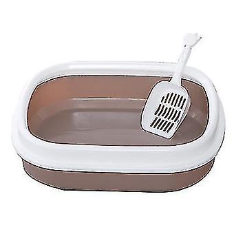 Caja de arena para gatos Semicerrada Caja de arena para inodoros para gatos con pala de arena para gatos (café)