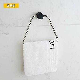 Musta kultainen kylpyhuone laitteistosentti yksinkertainen paperiteline pyyhe baari pyyherengas| Kylpylaitteistot
