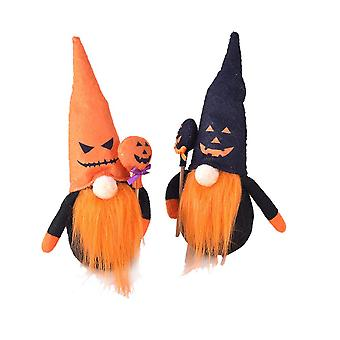 2pcs Halloween Plush Gnome Home Kitchen Decoration Lovely Handmade Holiday Gift Party Supplies