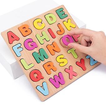 20*20Cm fa puzzle játékok tábla ábécé száma 3d rejtvények gyerekek korai oktatási játék megfelelő betű játékok gyerekeknek