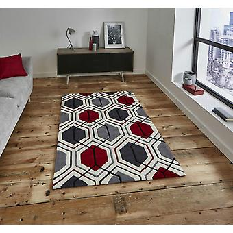 HK 7526 Cream Red  Rectangle Rugs Modern Rugs