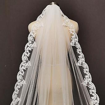 Long voile de mariée en dentelle avec peigne cathédrale Mariage en ivoire blanc