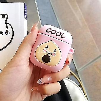 Musical instrument amplifier covers cases cute cartoon 3d silicone earphone case covers for airpods 1 2 peach
