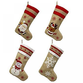 Joulusukkia 4 kpl, 18-tuumainen suuri pitkä, käsin neulottu, joulukoristeita ja kotilomakoristeita (beige)
