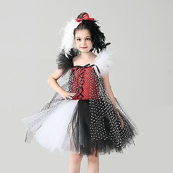 Cruella De Vil Girls' With Headdress Halloween  Ballet Tutu Polka Dot Party Dress