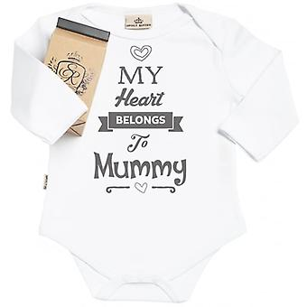 Spoilt Rotten Heart Belongs To Mummy Organic Baby Grow In Gift Milk Carton