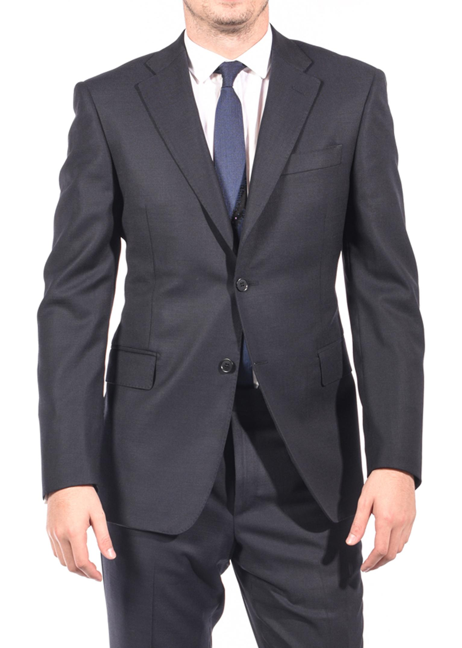 Luciano Barbera Club Men's Slim Fit Wool Two Button Suit Navy Black