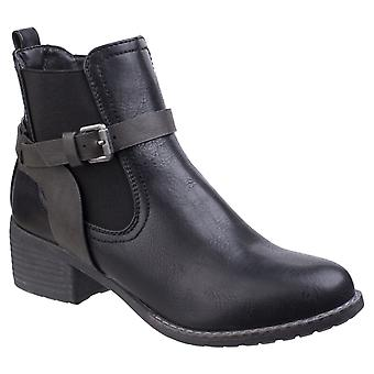 Divaz Womens Ivana Block Heel Ankle Boot Black