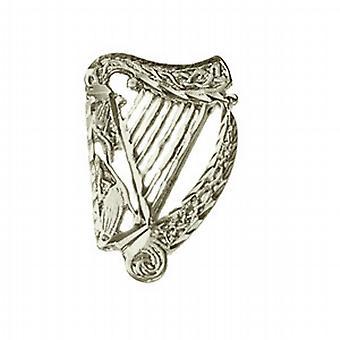 Silver 29x19mm diamond cut Irish Harp Brooch