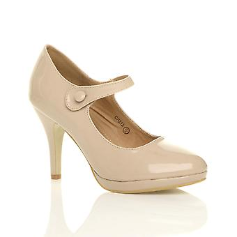 Ajvani dame midt high heel mary jane aften arbejde platform domstol sko