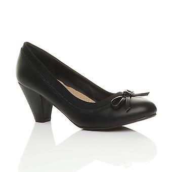 Ajvani womens mid block heel bow contrast plain smart work court shoes