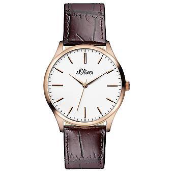 muñeca watch analógico cuarzo cuero Oliver s. hombres IP rosado SO-15144-LQR