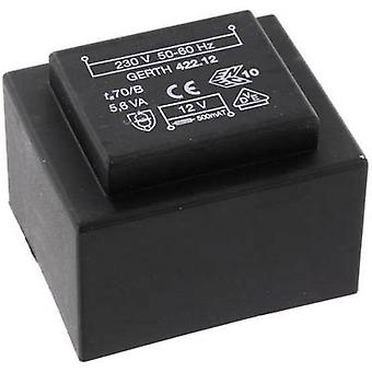 PCB mount transformer 1 x 230 V 2 x 7.50 V AC 5.60 VA 373 mA PTB421502 Gerth