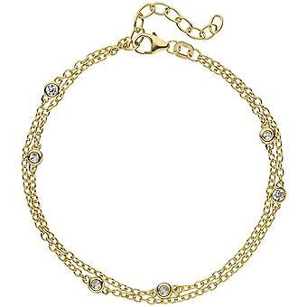 2-fila bracciale 925 in argento placcato oro cm 21 5 zirconi verkürzbar