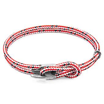Anchor & Crew Red Dash Padstow Silver and Rope Bracelet