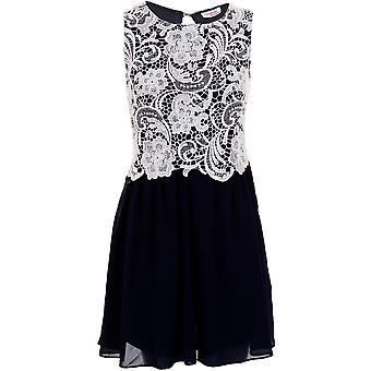 Ladies blonder kontrast Chiffon Flare Pleated åpne tilbake Women's Party kvelden kjole