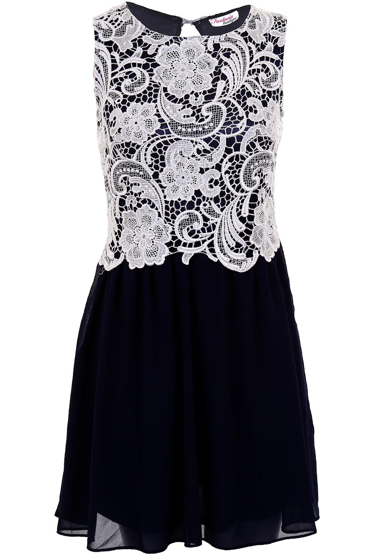 Ladies Lace Contrast Chiffon Flare Pleated Open Back Women/'s Party Evening Dress