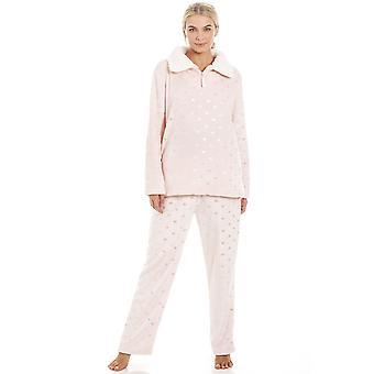 Camille luksuriøs rosa super Fleece høy hals sølv hjertet Pyjama satt