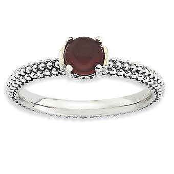 2.5mm 925 Sterling Silver Polished Prong set finish and 14k Stackable Expressions Red Agate Ring Jewelry Gifts for Women