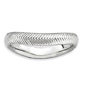 3.25mm 925 Sterling Silver Textured Patterned Rhodium plated Stackable Expressions Polished Rhodium plate Wave Ring Jewe