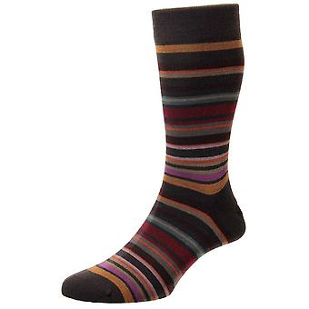Pantherella Quakers All Over Stripe Merino Wool Socks - Chocolate/Camel/Red
