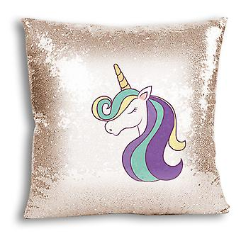 i-Tronixs - Unicorn Printed Design Champagne Sequin Cushion / Pillow Cover with Inserted Pillow for Home Decor - 16