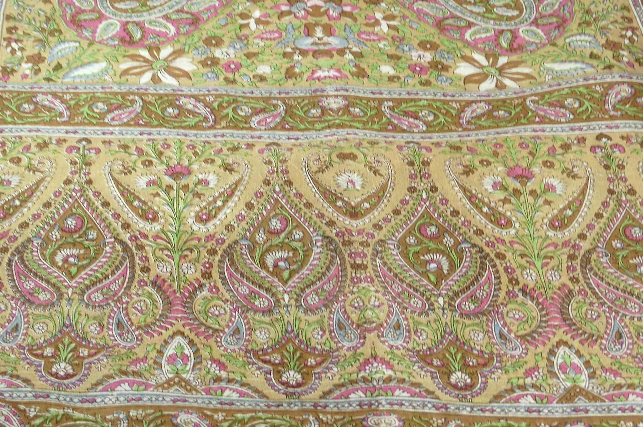 Classic Paisley Long Scarf Mulberry Silk Sehgal Caramel by Pashmina & Silk