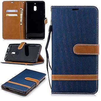 W przypadku Nokia 2.1 dżinsy pokrywa telefon komórkowy Etui ochronne sprawa ciemny niebieski