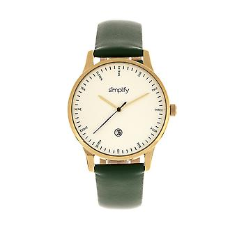 Simplify The 4300 Leather-Band Watch w/Date - Gold/Green