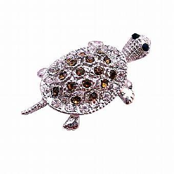 Sølv Casting skildpadde Tag broche Pin & vedhæng i røget Topaz krystal