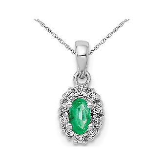 1/3 Carat (ctw) Natural Emerald Halo Pendant Necklace in 14K White Gold with Chain and Accent Diamonds
