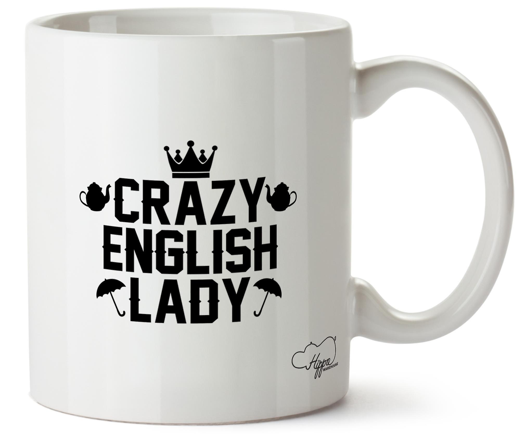 Hippowarehouse сумасшедший Английский леди напечатаны Кубка керамическая кружка 10oz