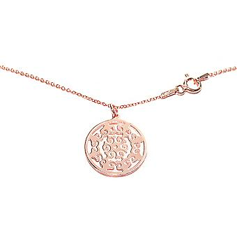 Ah! Jewellery 18K Rose Gold Vermeil Over Sterling Silver Open Work Circle Necklace, Stamped 925.
