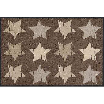 Salon Leeuw deurmat hout sterren noga wasbaar 50 x 75 cm