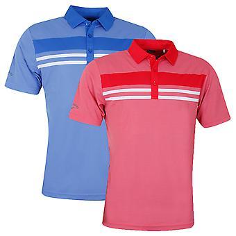 Callaway Mens Yarn Dye Chest Stripe Golf Polo Shirt