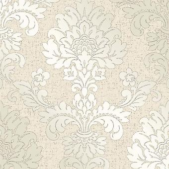 Crème goud glitter damast behang vinyl textuur retro Fine decor Quartz