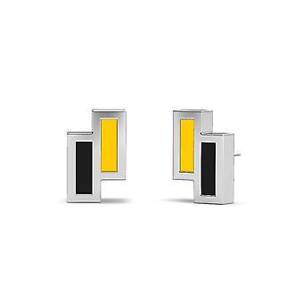 Wichita State University Sterling Silver Asymmetrisk emalj Stud örhängen i gult och svart