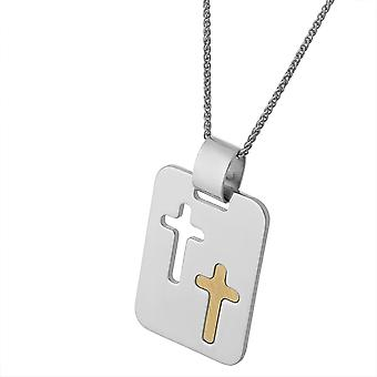 PENDANT WITH CHAIN DOUBLE CROSS BICOLOR 925 SILVER